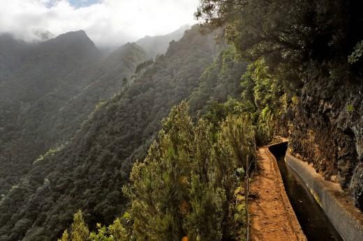 Water canal Levada, Levada da Central da Ribeira da Janela, Madeira, Portugal : Stock Photo