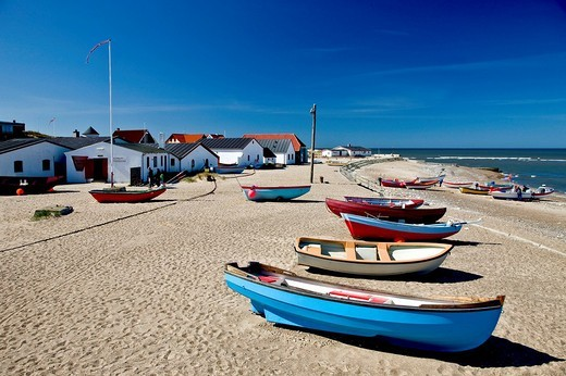 Stock Photo: 1848R-285212 A small fishing village at the Danish west coast, Denmark