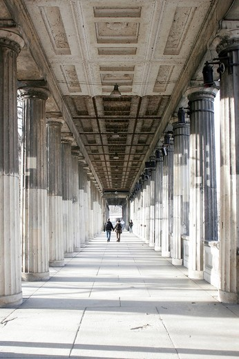 Colonnade at the Old National Gallery in Berlin, Germany, Europe : Stock Photo