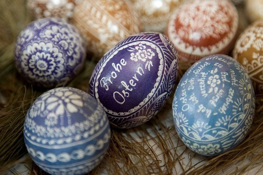 Traditional Silesian Easter eggs decorated through scraping and shaving : Stock Photo
