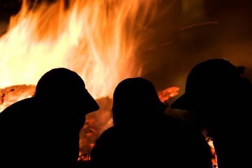 Stock Photo: 1848R-286785 Solstice bonfire on Mr  Wallberg, Bavaria, Germany, Europe