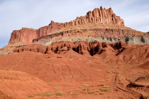 Stock Photo: 1848R-287363 The Castle sandstone formation, Wingate Sandstone, Capitol Reef National Park, Utah, USA