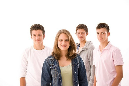 Portrait of a group, three boys and a girl : Stock Photo