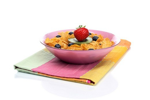 Cornflakes with fruits : Stock Photo