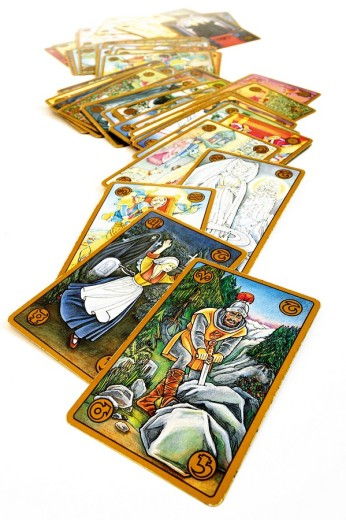 Tarot cards, scattered symbolon cards : Stock Photo