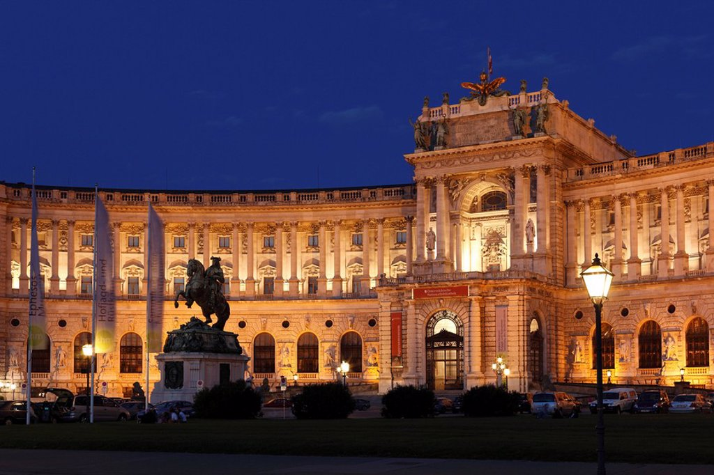 Hofburg Imperial Palace on Heldenplatz Heroes´ Square, equestrian statue of Prince Eugen, Vienna, Austria, Europe : Stock Photo