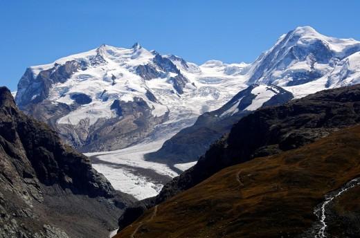 World of glaciers, Monte Rosa massif, Grenzgletscher, Liskamm, Zermatt Valais Switzerland : Stock Photo