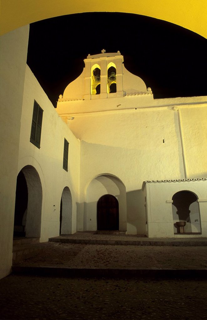 Historic church of Sant Antoni de Portmany at night : Stock Photo
