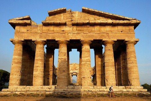 Ruins of Greco-Roman architecture, Paestum, Province of Salerno, Campania, Southern Italy : Stock Photo