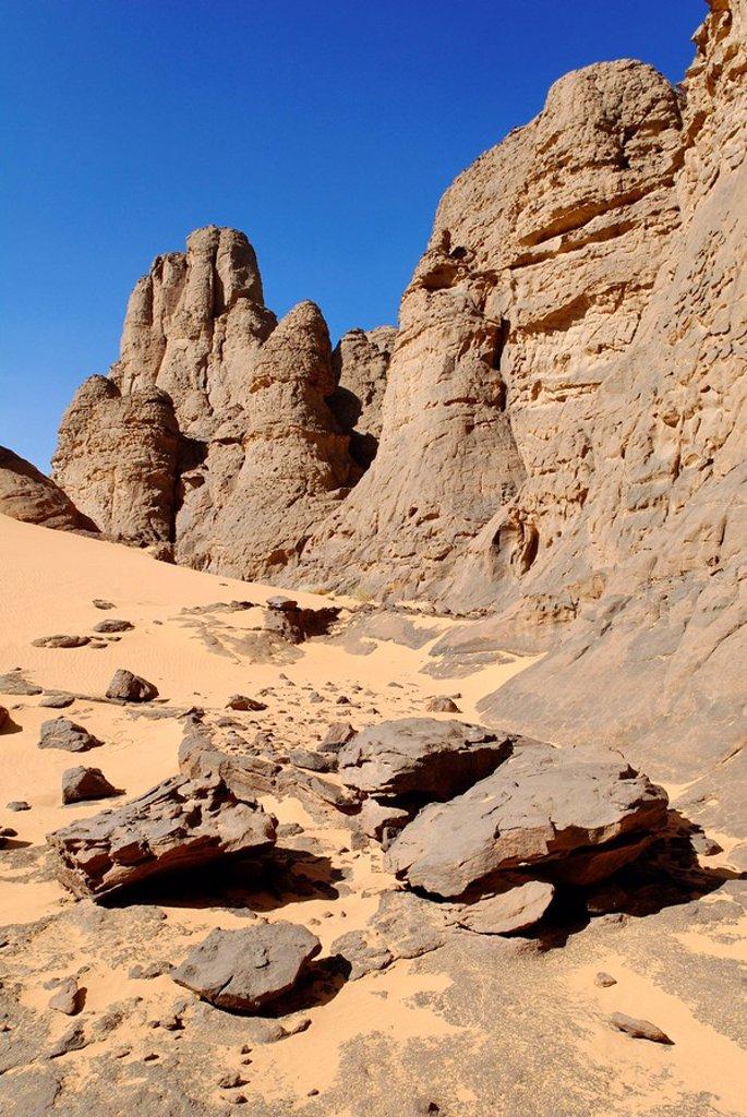 Stock Photo: 1848R-291240 Rock formation in El Ghessour, Tassili du Hoggar, Wilaya Tamanrasset, Algeria, Sahara, Africa