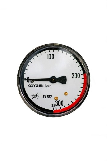 Stock Photo: 1848R-291268 Manometer, pressure gauge on an oxygen gas cylinder, cut out