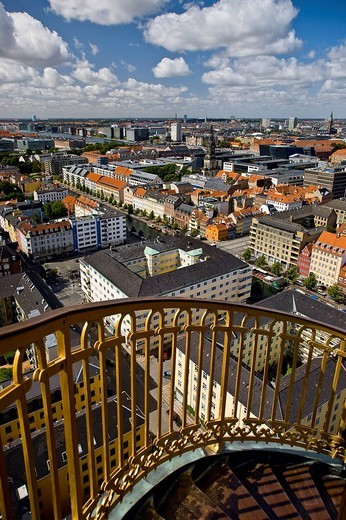 View of Copenhagen from the top of Our Saviours Church, Copenhagen, Denmark, Europe : Stock Photo