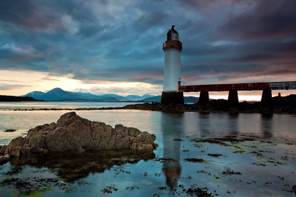 Lighthouse on the Isle of Skye connected to Scotland with a bridge, Scotland, United Kingdom, Europe : Stock Photo