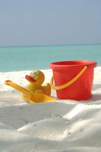 Sandbox toys on the beach, Diffushi Island, Holiday Island, Southern Ari Atoll, Maldives, Indian Ocean : Stock Photo