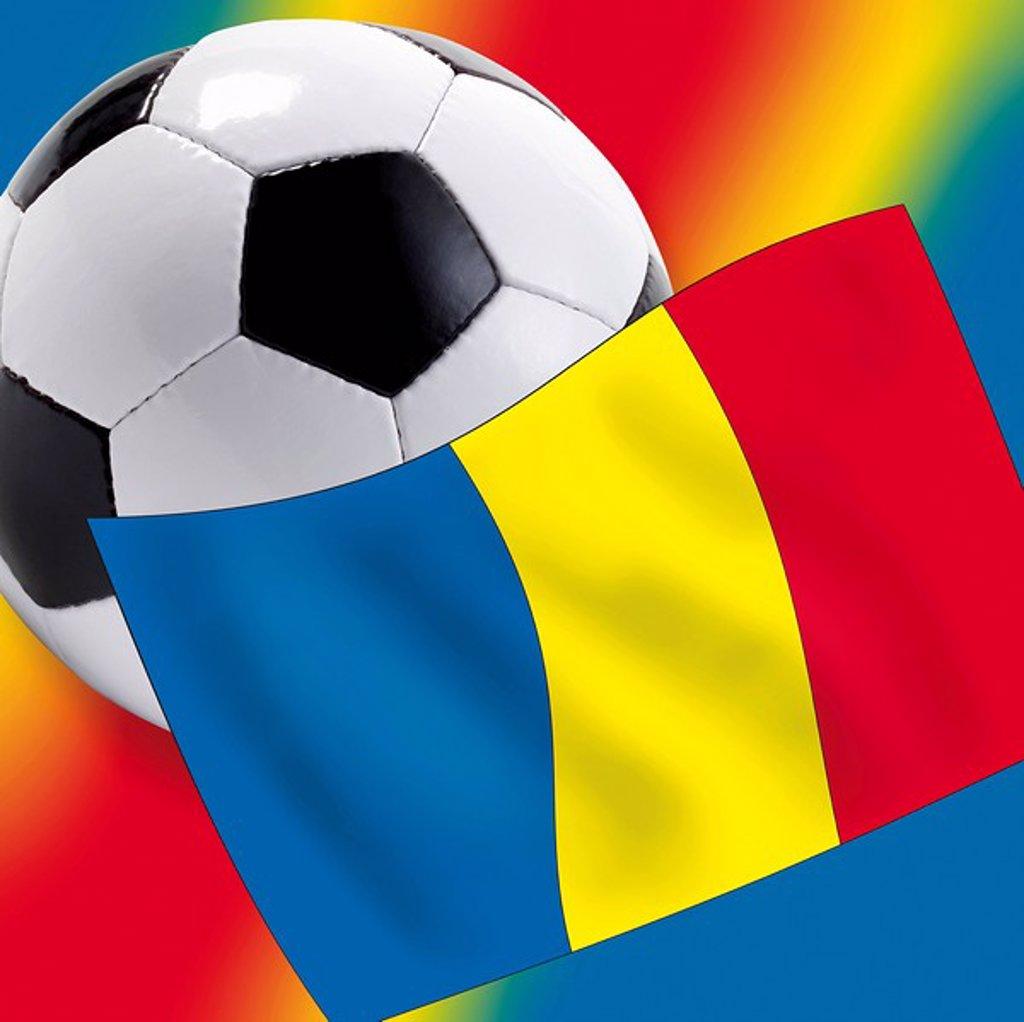 Stock Photo: 1848R-293061 Football with Romanian flag