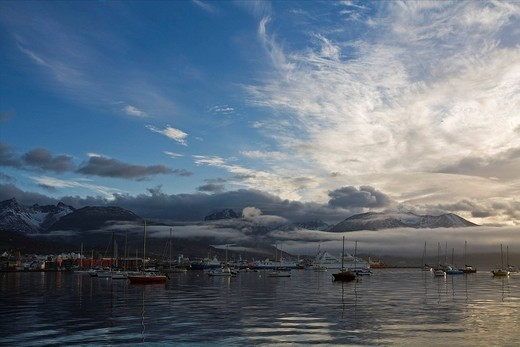 Harbor, Ushuaia, most southerly town of the world, Tierra del Fuego, Argentina, South America : Stock Photo