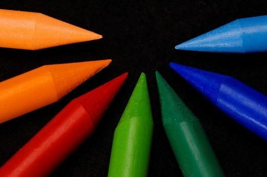 Stock Photo: 1848R-293619 Colorful wax crayon
