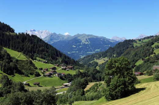 Silbertal valley in Schruns, Montafon, Vorarlberg, Austria, Europe : Stock Photo
