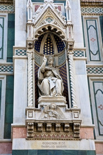 Santa Maria del Fiore detail of the cathedral pope Eugenius IV Florence Tuscany Italy : Stock Photo