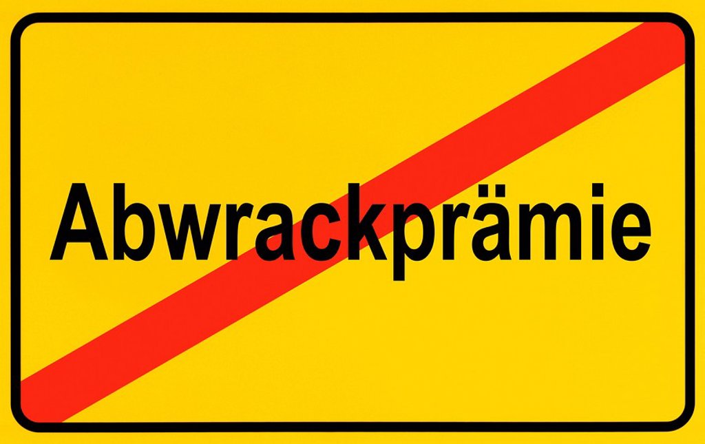 End of town sign with the name Abwrackpraemie, symbolic image for the end of the scrap metal bonus : Stock Photo