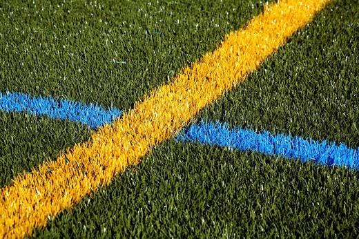 Pitch with artificial turf : Stock Photo