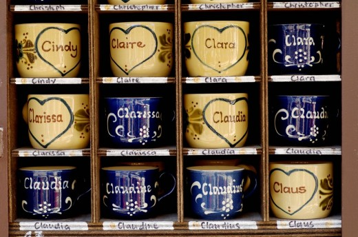 Cups with different names Cindi, Claire, Clara, Claudia : Stock Photo