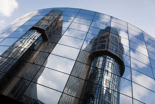 Stock Photo: 1848R-295339 Ministry of the Interior reflected on the glass facade of the Haus am Wasser building in Berlin, Germany