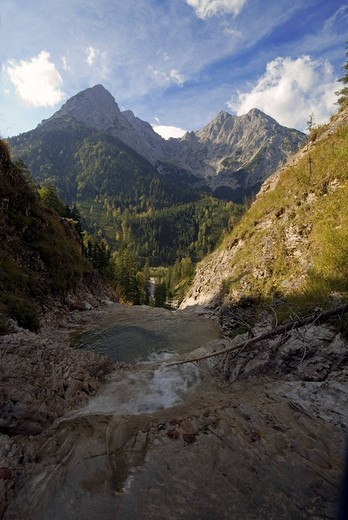 Stock Photo: 1848R-295376 Mt  Toten Falk, Mt  Turm Falk, Mt Laliderer Falk and Mt  Kleiner Falk viewed from Garberl-Alm alpine pasture, Risstal, Karwendel Range, Austria