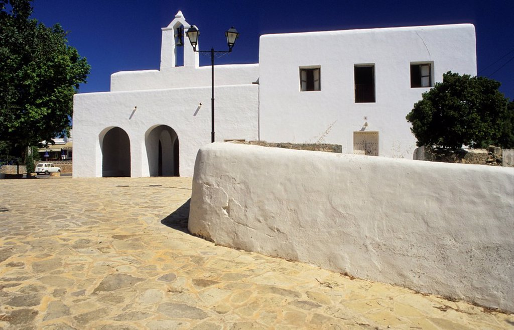 Traditional fortified church of Santa Agnes de Corona, Ibiza : Stock Photo