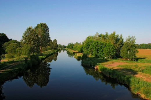 The Elde waterway in Mecklenburg-West Pomerania, Germany : Stock Photo