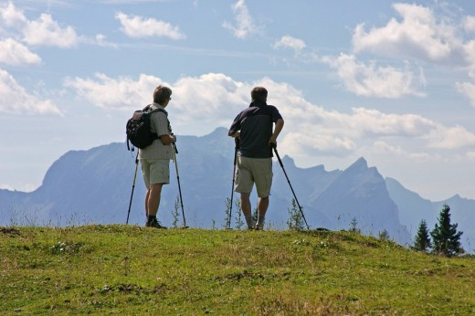 Hikers are standing on the meadow of the Heimoser alp and are looking to the Mountain Buchberg mountain region Gesäuse Styria Austria : Stock Photo