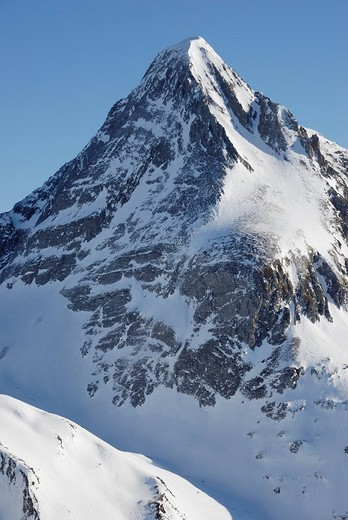 Stock Photo: 1848R-296315 Snow covered pyramidical peak of the Brandenberger Kolm in the Zillertaler alps Tyrol Austria