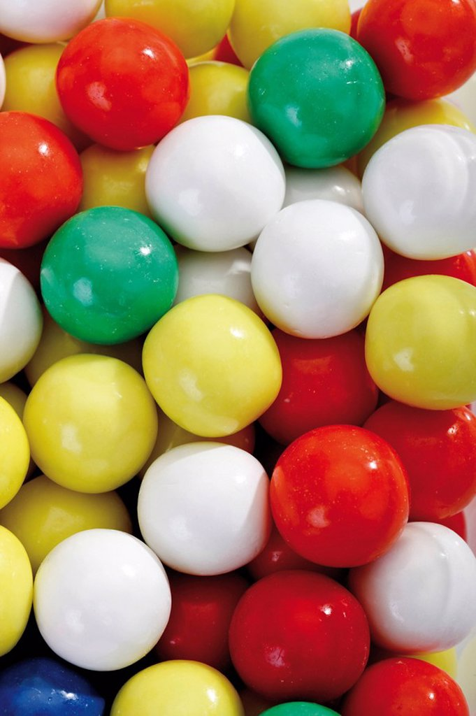 Stock Photo: 1848R-296633 Multicoloured gumballs, full frame