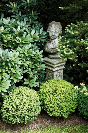 Garden, boxwood trees and statue : Stock Photo