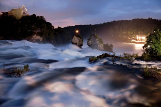 Stock Photo: 1848R-296864 Rhine Falls in Schaffhausen, at night, Switzerland, Europe