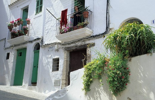 Lane at Dalt Vila, historic center of Eivissa, Ibiza, Spain : Stock Photo