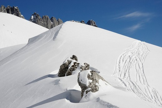 Stock Photo: 1848R-297440 Mt  Ackerspitze and ski tracks in the snow, Wilder Kaiser Range, Tirol, Austria, Europe