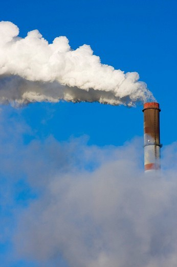 Smoke stack of thermal power station in Tusimice, Chomutov district, North Bohemia, Czech Republic, Europe : Stock Photo