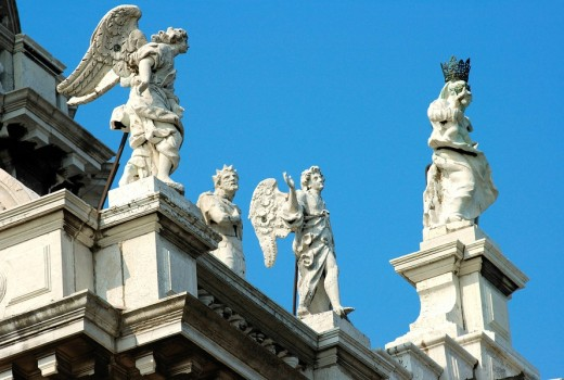 Stock Photo: 1848R-297925 Baroquial sculptures Basilica di Santa Maria della Salute, Venice, Italy