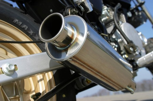 Stock Photo: 1848R-298068 Exhaust of a motor cycle