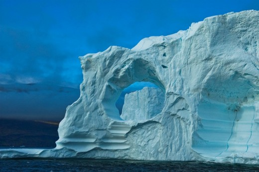 Iceberg in the shape of a gate, Disko Bay, Greenland, North Atlantic : Stock Photo