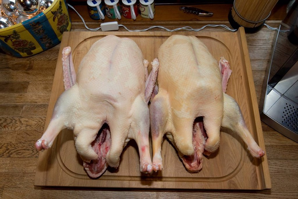Two uncooked geese being prepared for cooking or baking on a cutting board : Stock Photo