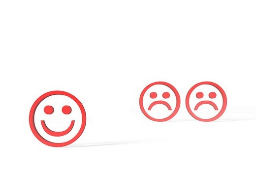 Three red Emoticons, one happy, two sad, 3D illustration : Stock Photo
