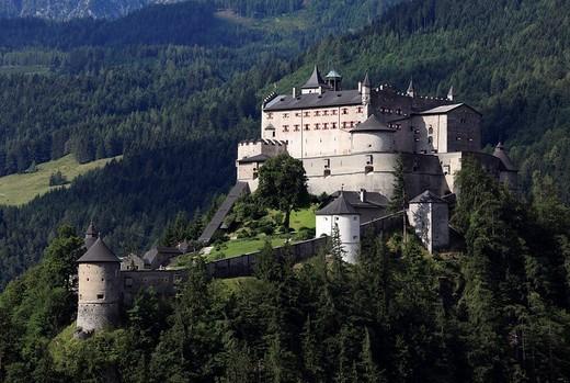 Festung Hohenwerfen fortress, Werfen, Pongau, Land Salzburg, Salzburg, Austria, Europe : Stock Photo