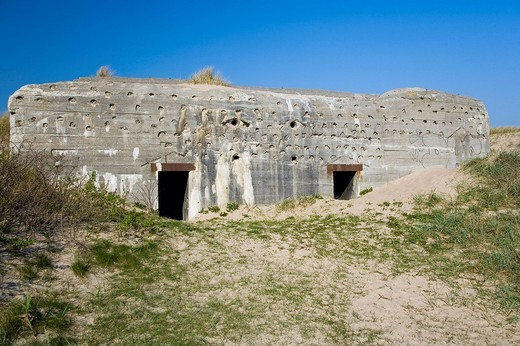 Old German air_raid shelter at the Danish north sea coast, Denmark : Stock Photo