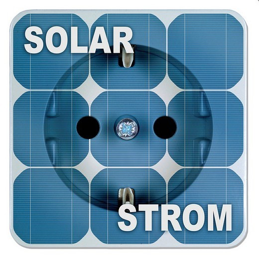 Solar energy, solar power panels with outlet : Stock Photo