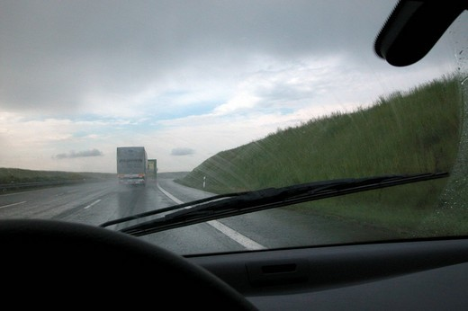 Stock Photo: 1848R-301277 Rain on the highway