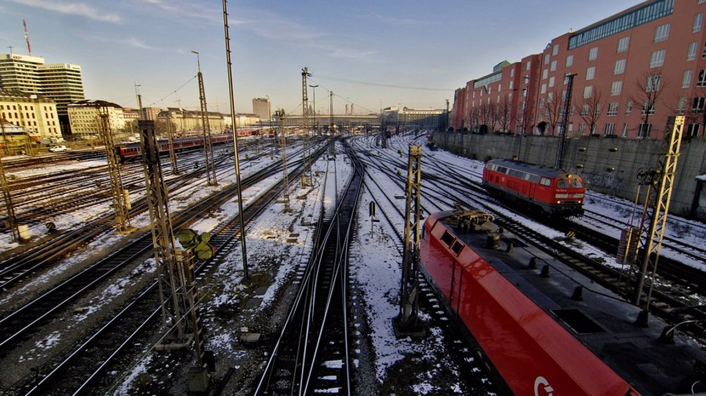 Railways near railway mainstation, Munich, Bavaria : Stock Photo