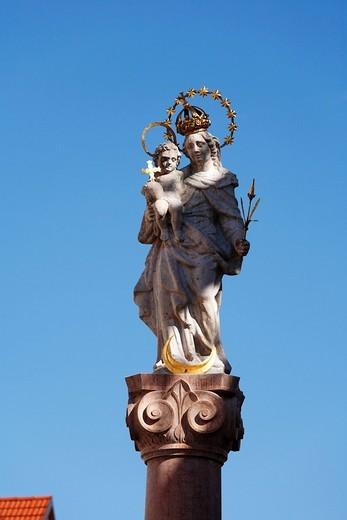 Marian Column, Mariensaeule in Murnau, Upper Bavaria, Bavaria, Germany, Europe : Stock Photo