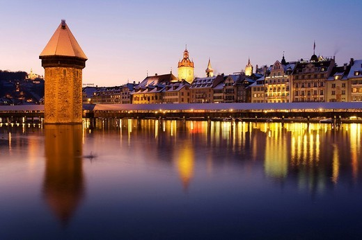 Evening mood, old town and Kapellbruecke, Lucerne, Switzerland, Europe : Stock Photo